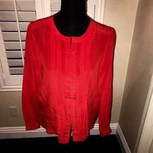 NWOT Red silk blouse with hidden buttons